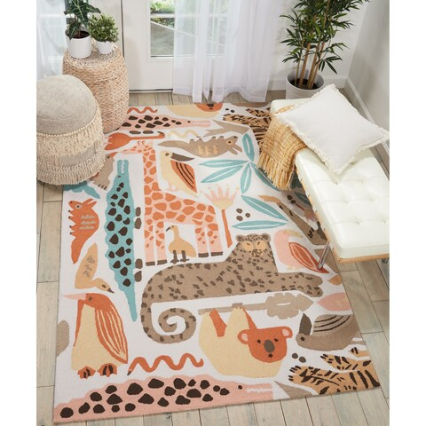 Nourison Hand Hooked Multicolor Zoo Animals Kids Rug - 5' x 7'6""