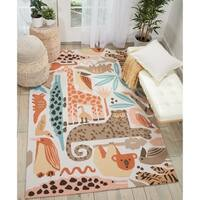 Nourison Zoo Animals Multicolor Handmade Kids' Rug - 5' x 7'6