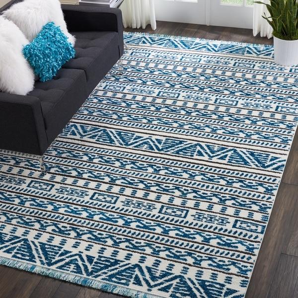 Shop Nourison Kamala Ivory Blue Aztec Patterned Fringe Rug