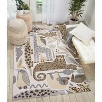 Nourison Zoo Animals Grey Handmade Kids' Area Rug - 5' x 7'6