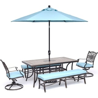 Hanover Monaco 5-Piece Dining Set in Blue with Swivel Rockers, Benches, Tile-Top Table, and Umbrella with Stand
