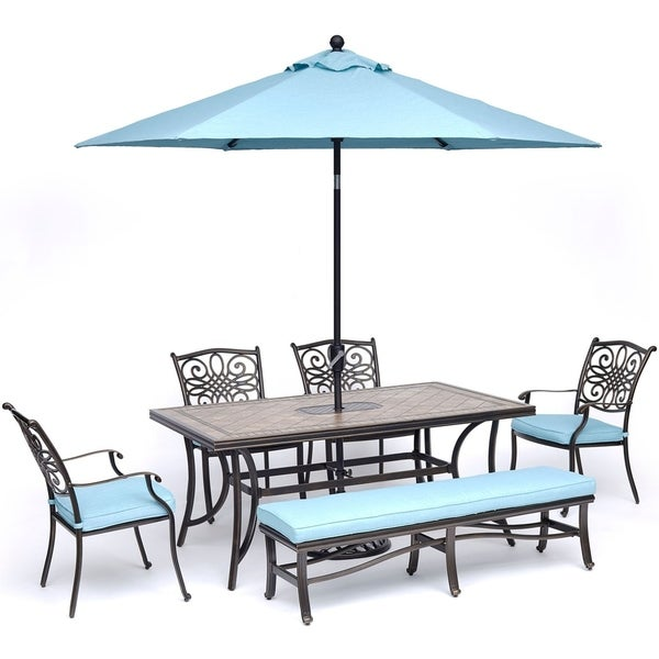 Hanover Monaco 6-Piece Dining Set in Blue with Arm Chairs, Bench, Tile-Top Table, and Umbrella with Stand