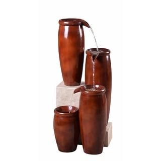 """Mezzo 36"""" Indoor/ Outdoor 4-Tier Floor Fountain - Textured Rust"""