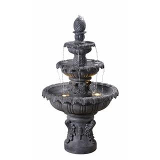 """Antoni 45"""" Outdoor 3-Tier Floor Fountain - Zinc - 26"""" Dia. x 45'"""
