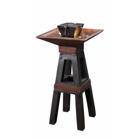 """Kobe 41"""" Indoor/ Outdoor Floor Fountain - Copper and Bronze"""
