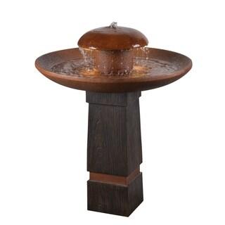 """Design Craft Okadu 32"""" Outdoor Floor Fountain - Wood Grain and Copper"""