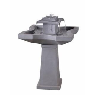 """Lutz 32"""" 2-Tier Outdoor Floor Fountain - Concrete - 22"""" x 22"""" x 32""""H"""
