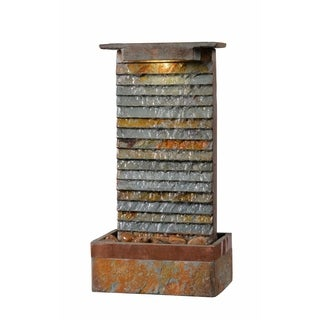 """Ridge 19"""" Outdoor Table Fountain - Slate and Copper"""