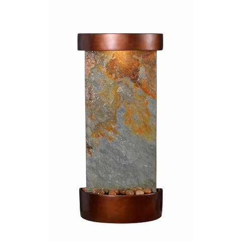 "Myra 25"" Indoor and Outdoor Table and Wall Fountain - Slate and Copper - 12"" x 25"""