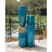 "Mezzo 36"" Indoor/ Outdoor 4-Tier Floor Fountain - Textured Blue"