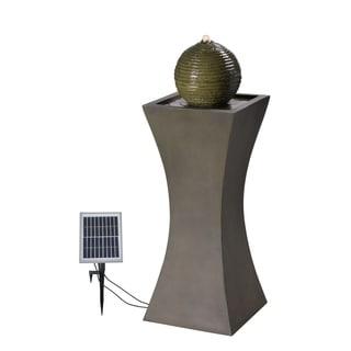 "Ibis 40"" Outdoor Solar Fountain - Moss Stone - 14"" x 14"" x 40""H"