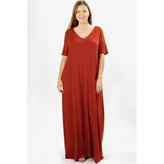 JED Women's Plus Size V-Neck Short Sleeve Casual Maxi Dress (3 options available)