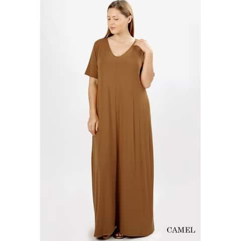 JED Women's Plus Size V-Neck Short Sleeve Casual Maxi Dress