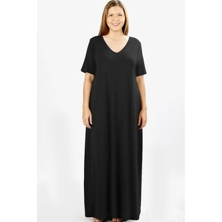 JED Women's Plus Size V-Neck Short Sleeve Casual Maxi Dress