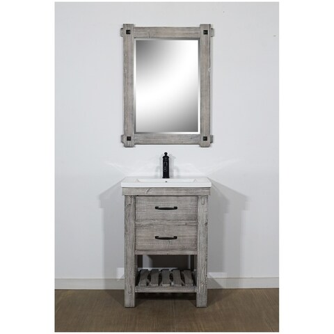 "24""Rustic Solid Fir Vanity with Ceramic Single Sink in Grey-Driftwood Finish-No Faucet"