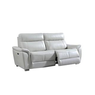 Luca Home Brady Light Grey Electric Reclining Sofa & Loveseat