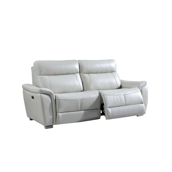 Luca Home Brady Light Grey Electric Reclining Sofa Loveseat