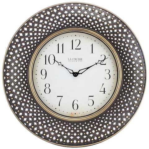 La Crosse Clock BBB86507 16 In. Antiqued Brown Lattice Round Analog Wall Clock