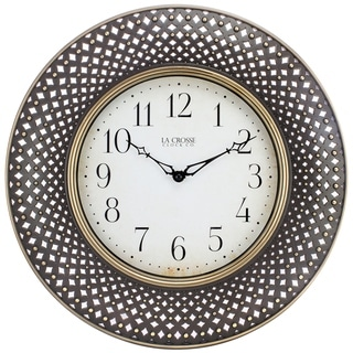 Link to La Crosse Clock BBB86507 16 In. Antiqued Brown Lattice Round Analog Wall Clock Similar Items in Decorative Accessories