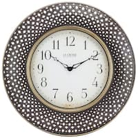 La Crosse Clock BBB86507 16 In. Antiqued Brown Lattice Round Analog Wall Clock