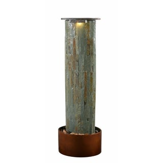 "Skye 49"" Outdoor Floor Fountain - Slate and Copper"