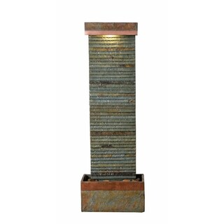"Ridge 48"" Indoor/ Outdoor Floor Fountain - Slate and Copper"