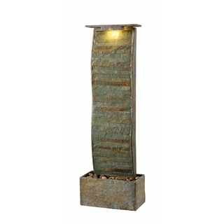 "Rivera 48"" Indoor/ Outdoor Waterfall Floor Fountain - Slate"