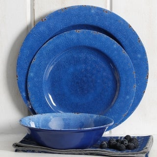 Rustic 12 Pcs. Durable Melamine Dinner set For 4 Person - Cobalt Blue