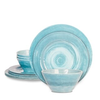Rustic 12 Pcs. Durable Melamine Dinner set For 4 Person - Turquoise