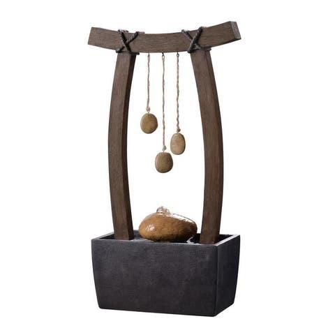 """Serenity 22"""" Indoor/ Outdoor Table Fountain - Wood Grain"""