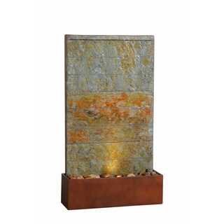 "Costas 33"" Outdoor Floor/ Wall Fountain - Slate and Copper"