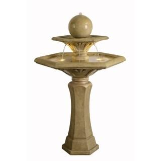 """Alonzo 56"""" Outdoor 2-Tier Floor Fountain - Sandstone"""
