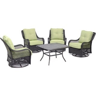 """Orleans 5-Piece Patio Chat Set in Avocado Green with 4 Swivel Rockers and a 32"""" x 38"""" Cast-Top Coffee Table"""