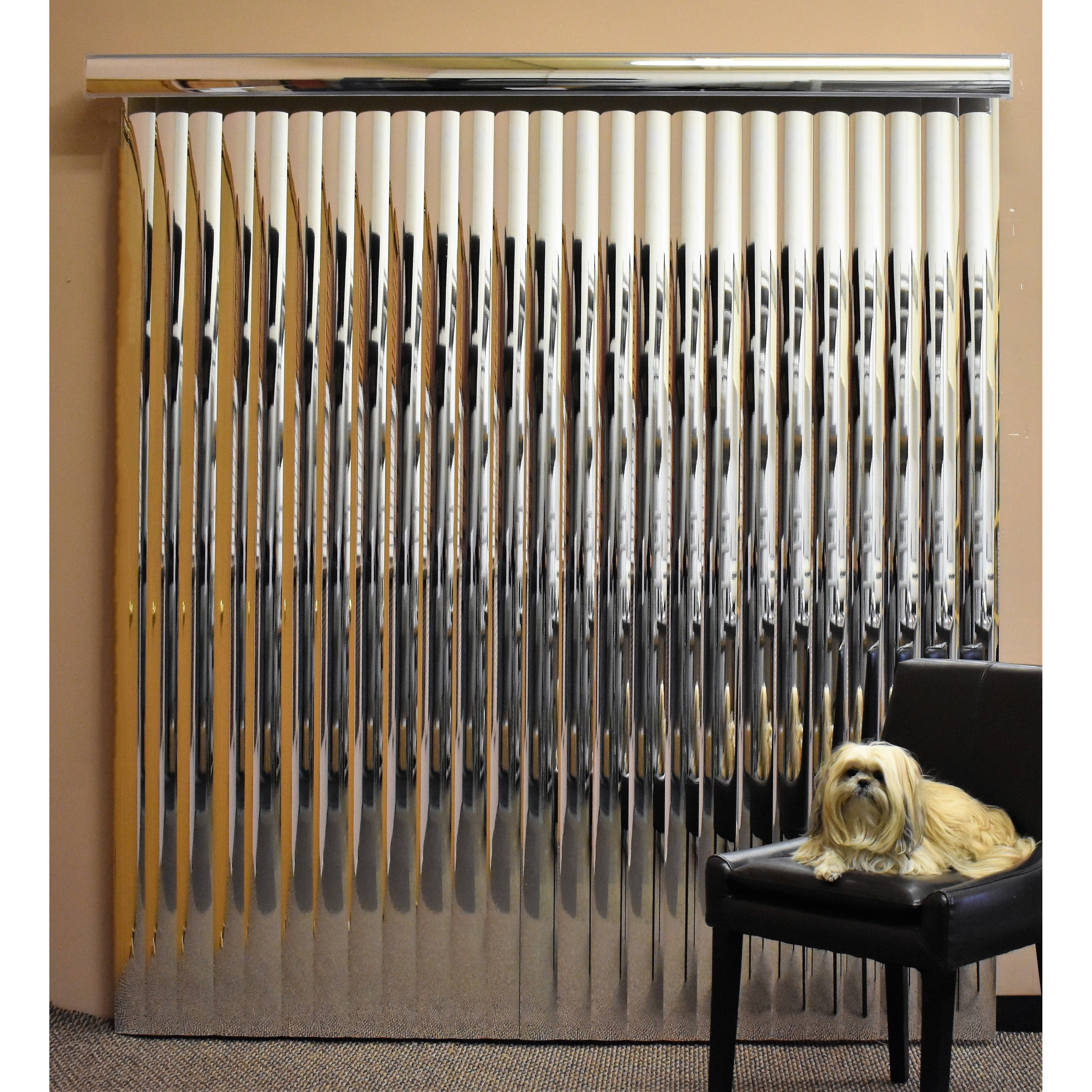 Silver Mirror Vinyl Vertical Blind 84 L X 36 To 98 W