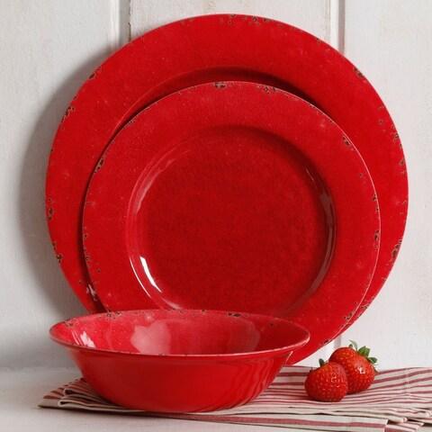 Rustic 12 Pcs. Durable Melamine Dinner set For 4 Person - Dark Red