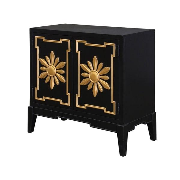 Golden Flower Overlay Jet Black 2 Door Cabinet Free Shipping Today 20740961