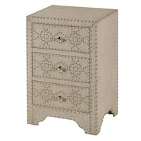StyleCraft 3-drawer Linen-covered Chest - Silver Nail Head Accents