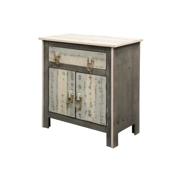 Grey Distressed Kitchen Cabinets: Shop Distressed 2-door 1-drawer Solid Pine Grey White And