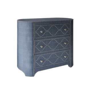 StyleCraft 3-drawer Wedgewood Blue Linen Fabric Oval-Shaped Cabinet - Chrome Nail Trim