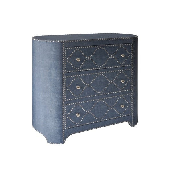 3-drawer Wedgewood Blue Linen Fabric Oval-Shaped Cabinet - Chrome Nail Trim
