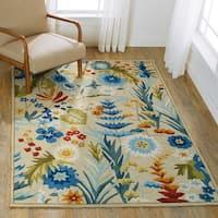 "Hand-hooked Floral Beige/ Blue Multi Transitional Rug - 5' x 7'6"""
