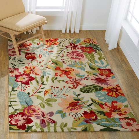 Hand-hooked Floral Ivory/ Blush Multi Transitional Rug - 7'6 x 9'6