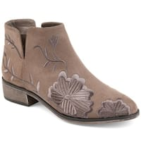 Journee Collection Women's 'Tabitha' Embroidered Floral Side-slit Booties