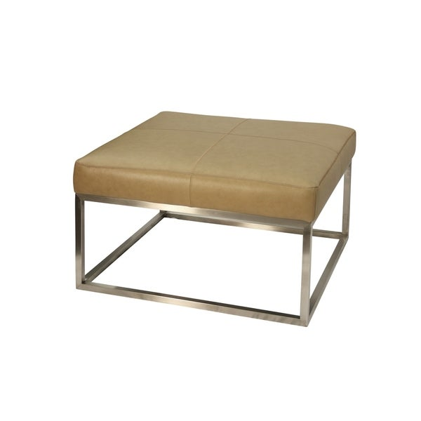 Shop Genuine Camel Leather Ottoman Brushed Steel Metal