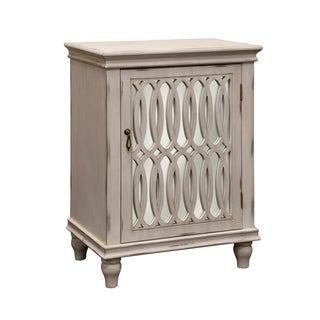 Single Door Mirrored Ivory Wood Front Cabinet
