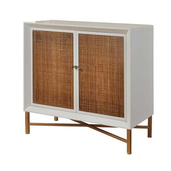 2-drawer White Gloss Lacquer Cabinet - Natural Woven Cane Doors and Antique Gold Frame  sc 1 st  Overstock & Shop 2-drawer White Gloss Lacquer Cabinet - Natural Woven Cane Doors ...