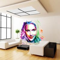 """Girl Painting Full Color Wall Decal Sticker AN-423 FRST Size52""""x52"""""""