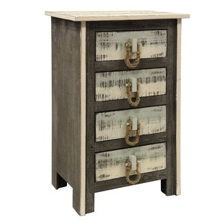 Distressed 4-drawer Solid Pine Grey White and Sky Blue Driftwood Chest