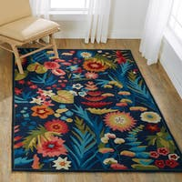 Hand-hooked Floral Navy/ Multi Transitional Rug - 7'6 x 9'6