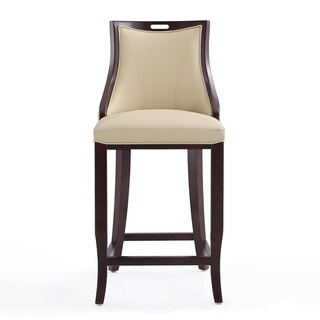 Ceets Emperor Walnut-finished Wood Bar Stool with Leatherette Upholstery